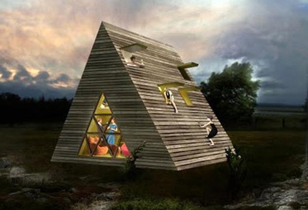 дом с крышей до земли планировка