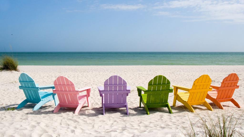 Sun loungers by the sea