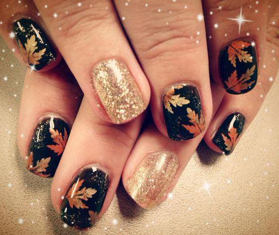 мастер класс кленовый лист на ногтях
