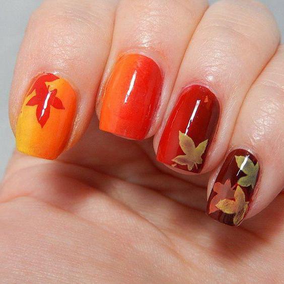 кленовый лист на ногтях