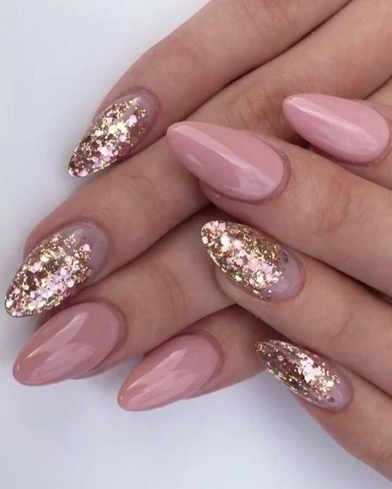 plain manicure with sparkles