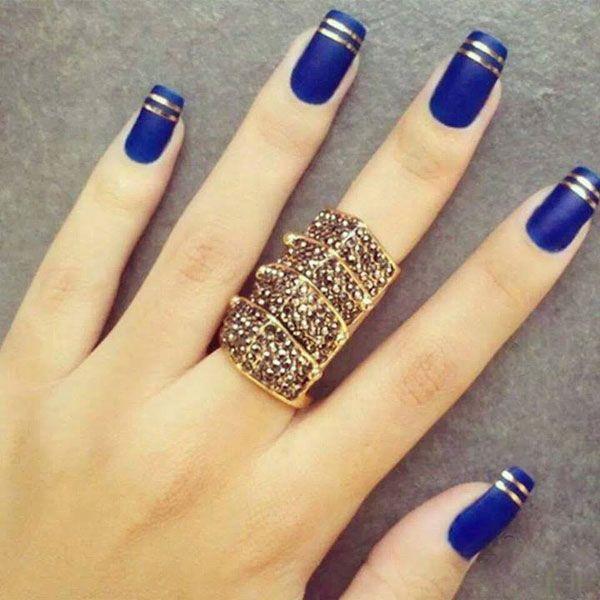 Маникюр синий с золотом: дизайн ногтей. Маникюр с золотым рисунком