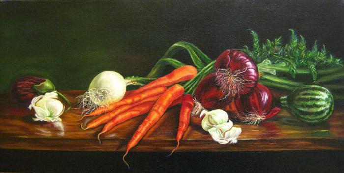 Натюрморт из цветов и овощей