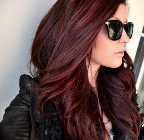 Цвет волос тёмная вишня фото