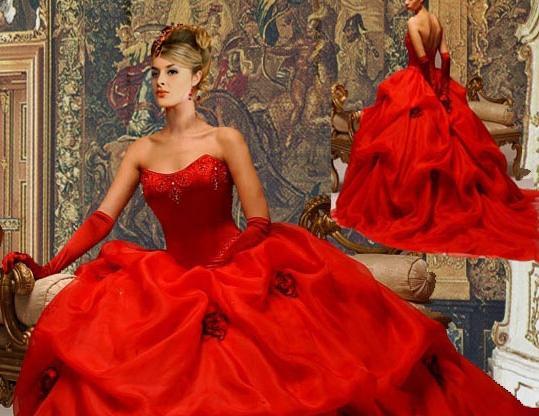 Свадебные платья с красными вставками