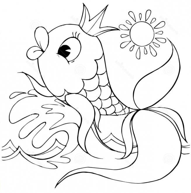 Нарисовать золотую рыбку из сказки