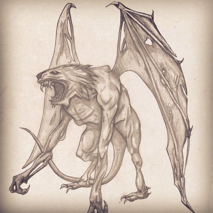 Как нарисовать крылья демона карандашом