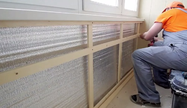 insulation of the loggia by the method of creating a crate