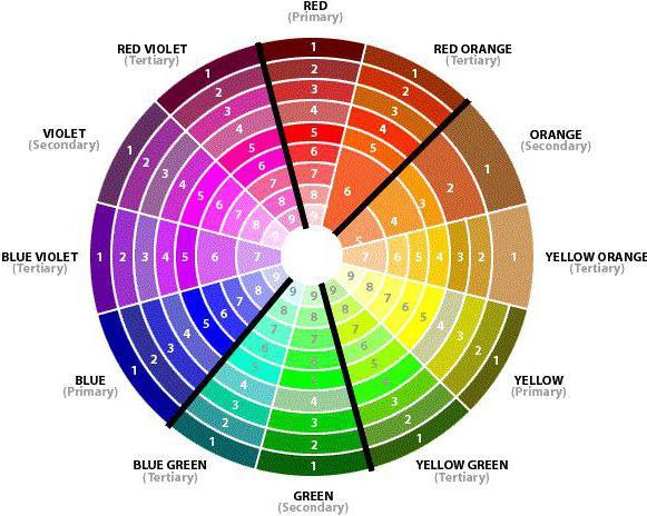таблица сочетания цветов в интерьере фото