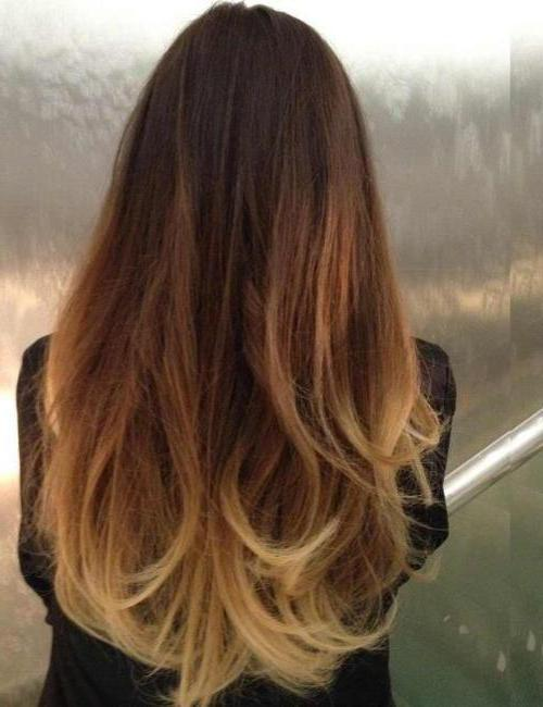 переход волос от темного к светлому
