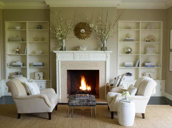 дизайн интерьера гостиной с камином фото