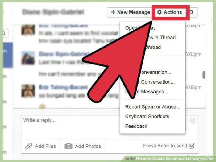 как удалить сообщения в фейсбук