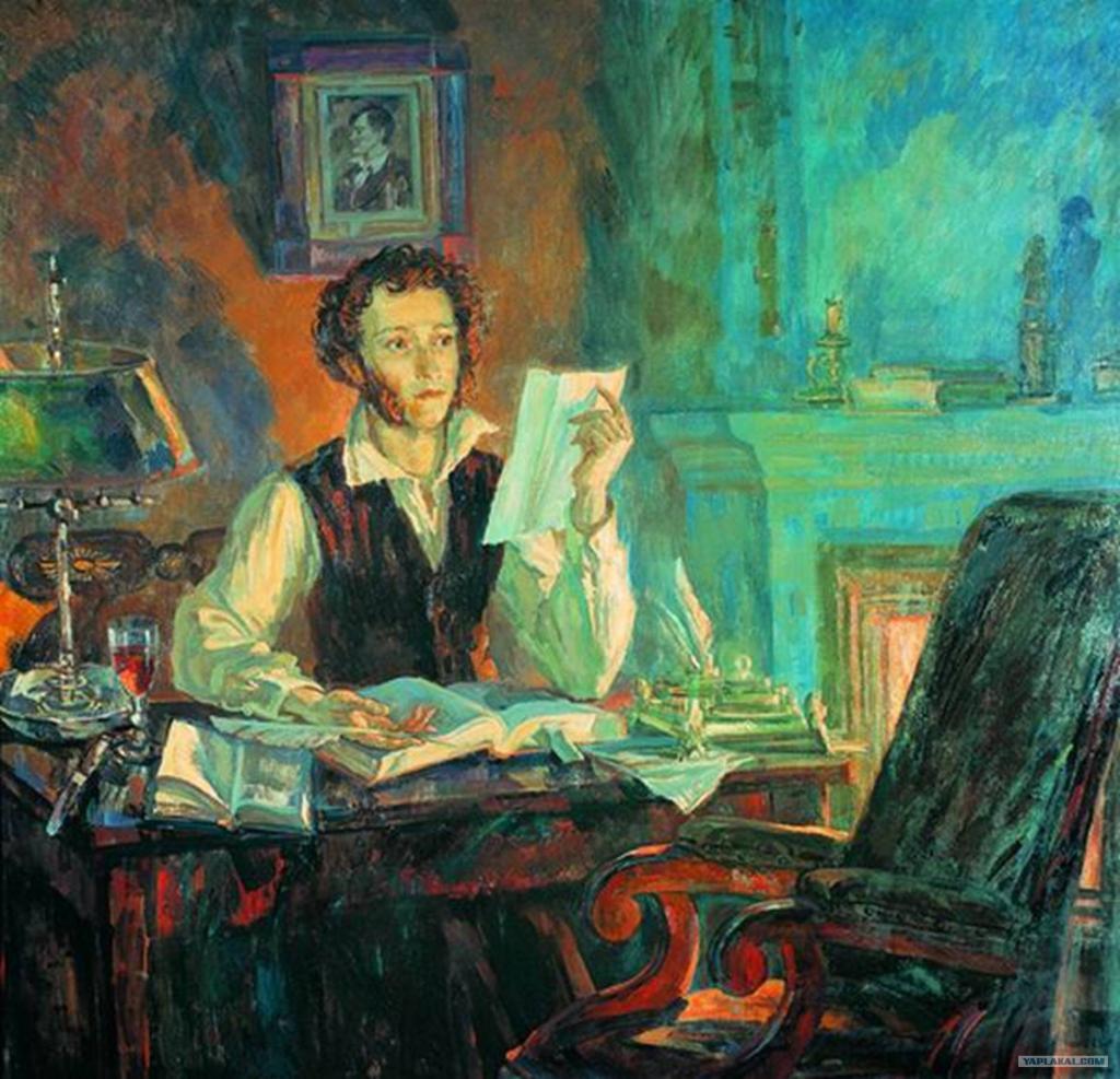знаете пушкин с утра сидит за столом пишет стихи гусиным пером ожила твоя