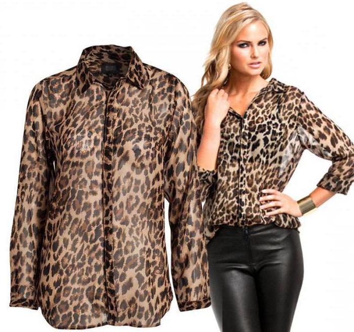 блузка с леопардовым принтом цвет темно бежевый