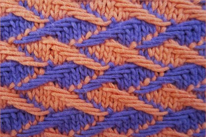 вязание спицами двухцветные узоры с описание схем