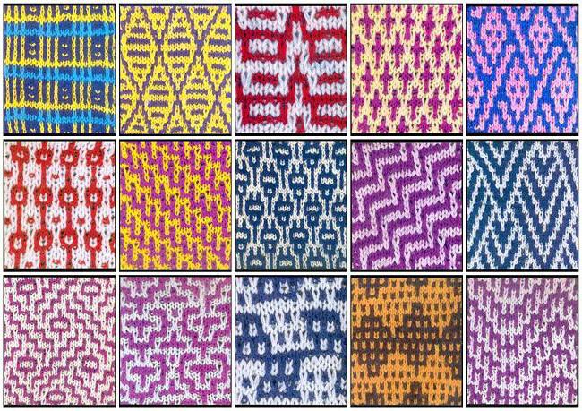 двухцветные узоры спицами схемы и описание