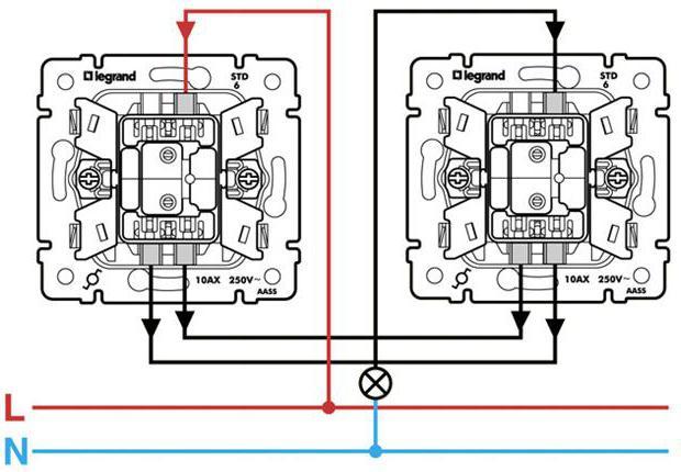 схема подключения проходного выключателя с подсветкой