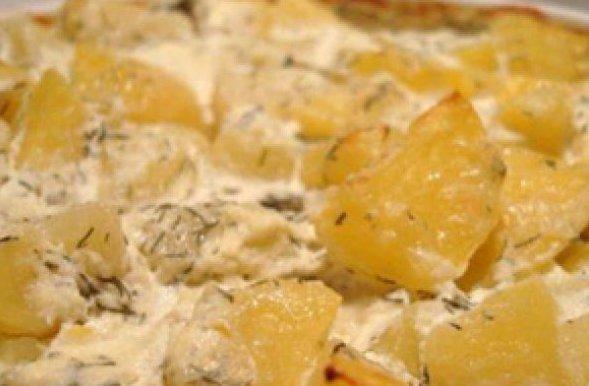 Жареный картофель со сметаной