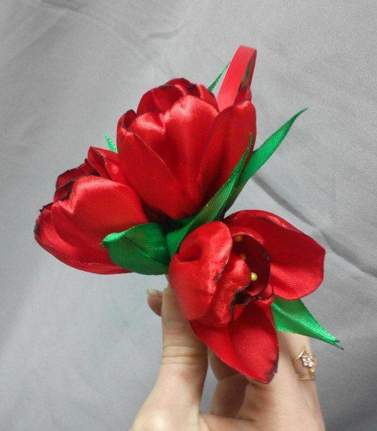 как сделать канзаши тюльпан