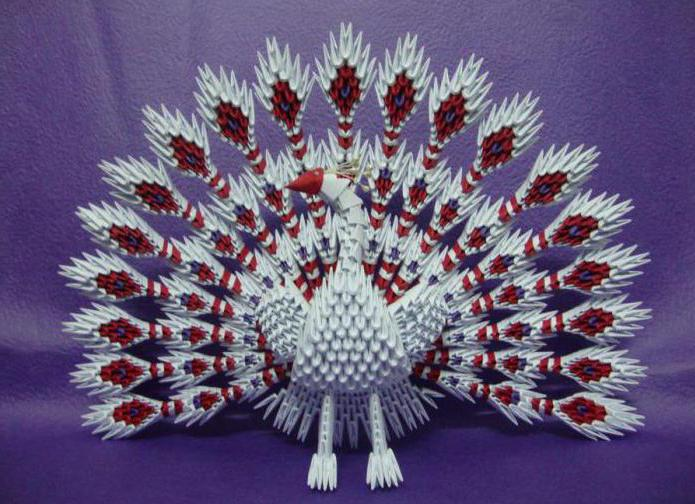павлин из модулей оригами схема
