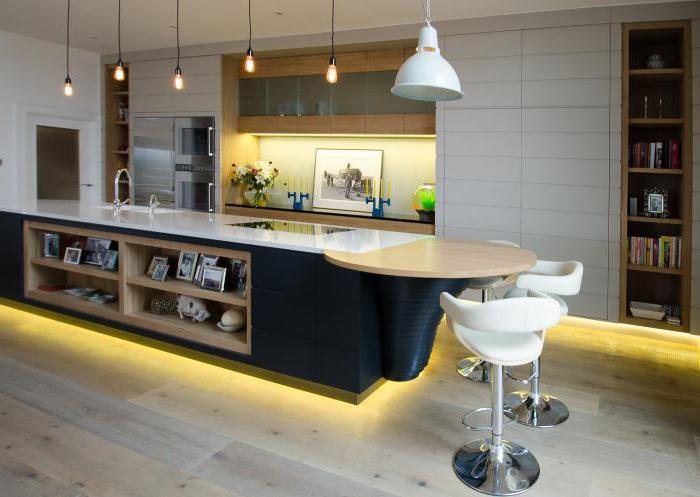 светильники над барной стойкой в кухне