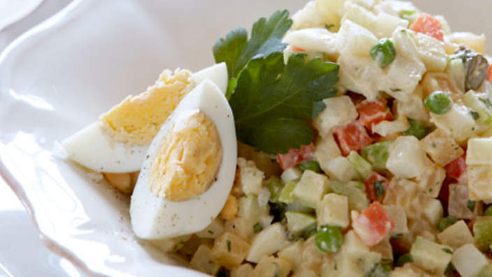 salad with mushrooms and cheese and egg