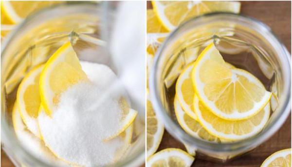 протереть лимон с сахаром