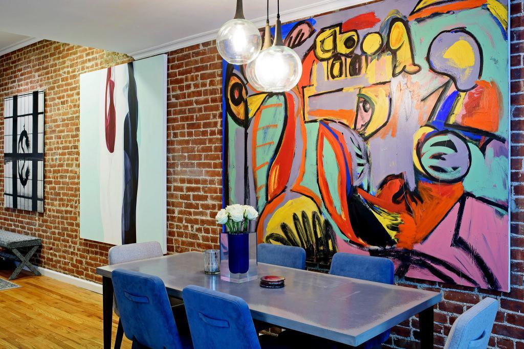 граффити на стене в квартире стиль лофт
