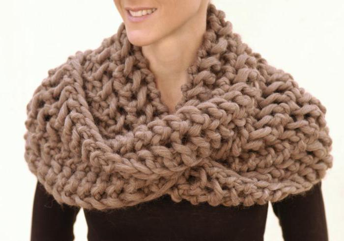 шарф-снуд круговыми спицами