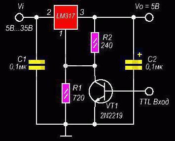 схема стабилизатора тока на lm317