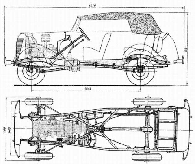 The scheme of the car GAZ-61