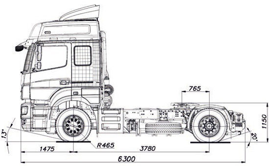 Габаритные размеры тягача КамАЗ-5490