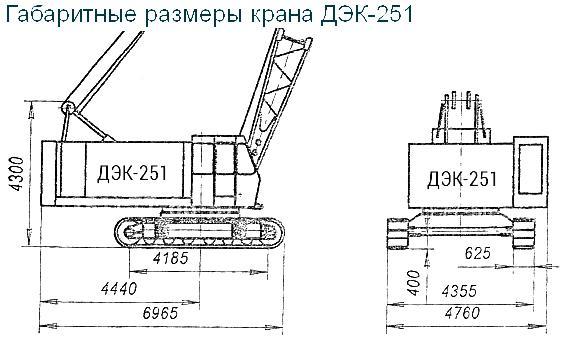 Габариты крана ДЭК-251