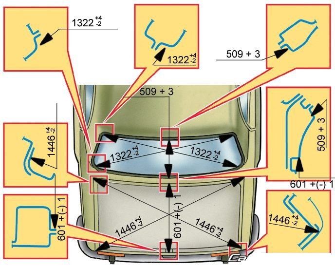 Схема кузова ВАЗ-2101