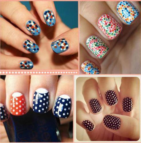дизайн ногтей разноцветными точками