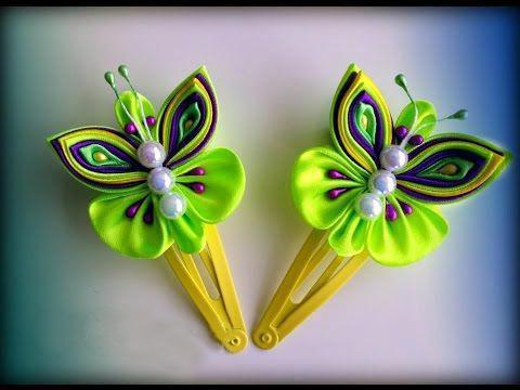 Заколки бабочки из лент своими руками