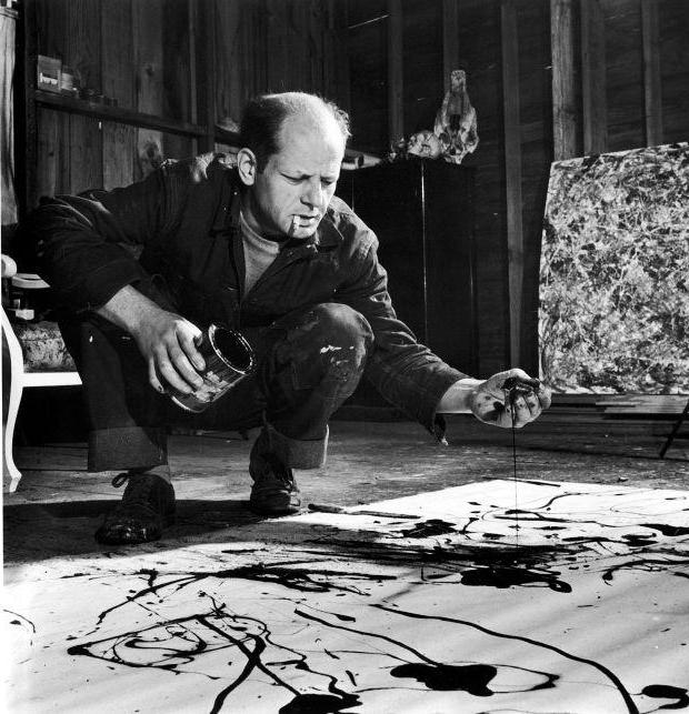"Jackson Pollock: paintings in the style of ""pouring technique"""