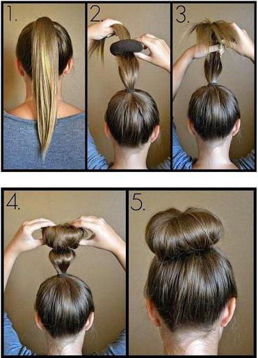 прическа пучок на средние волосы своими руками
