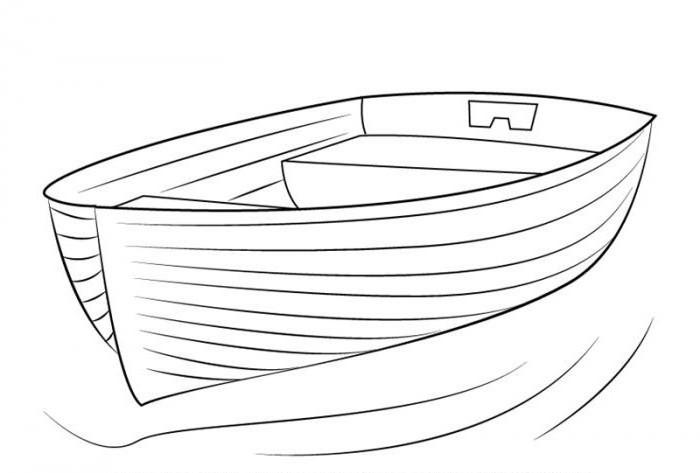 как нарисовать лодку карандашом