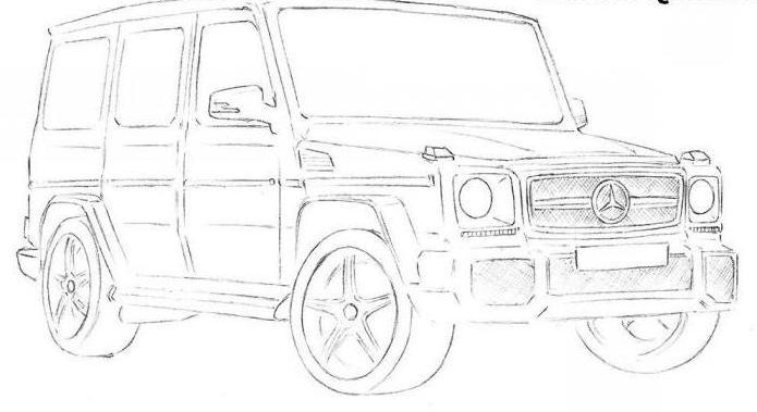 как рисовать машину мерседес джип