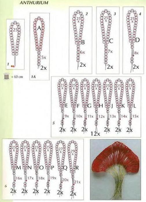 схема цветков из бисера