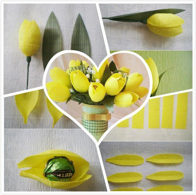 Тюльпаны с конфетами из гофрированной бумаги своими руками пошагово 46