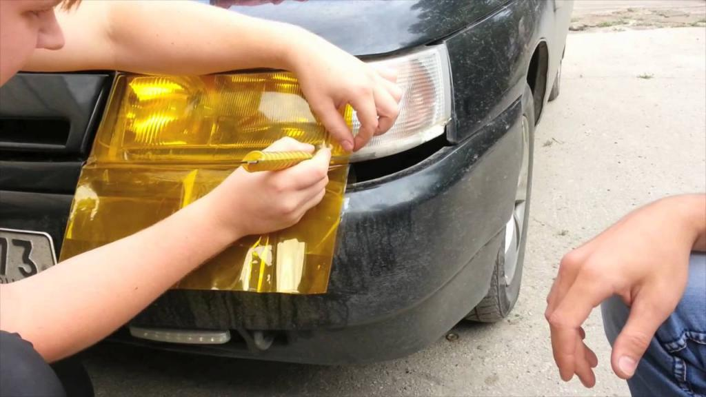 Sticker film on the headlights
