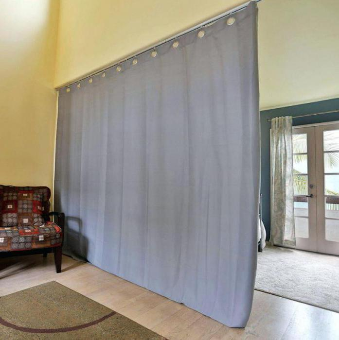 зонирование однокомнатной квартиры шторами фото
