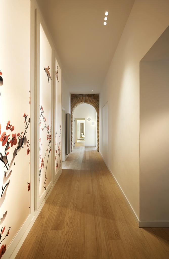 closet in the hallway a long corridor