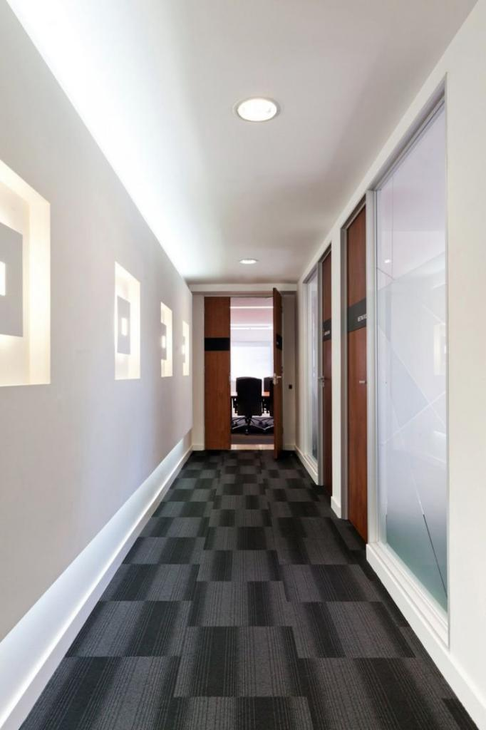 narrow long corridor in the apartment