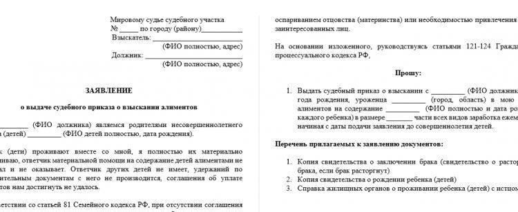 Заявление о выдаче судебного приказа: образец. Взыскание алиментов
