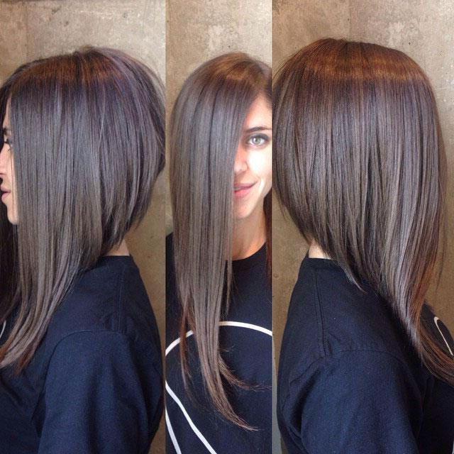 удлиненное каре на длинные волосы с челкой