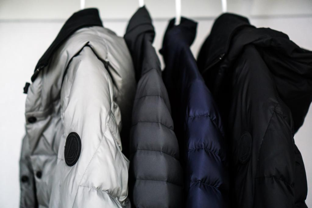 a variety of down jackets