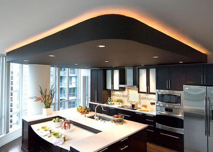 цвет двухуровневых потолков кухни